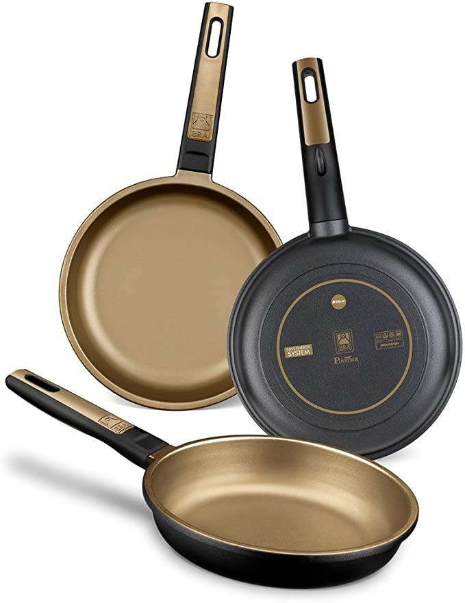 BRA Terra - Set de 3 sartenes, aluminio fundido, aptas para todo tipo de cocinas, incluido inducción y vitrocerámica, aptas para lavavajillas, 18-22-26 cm [Amazon Exclusive]