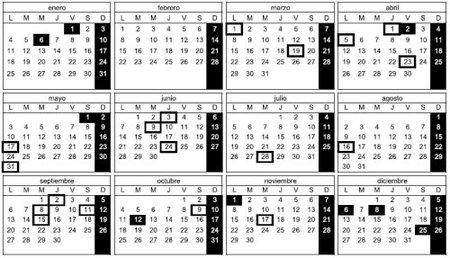 Calendario de días inhábiles de la Administración para 2010