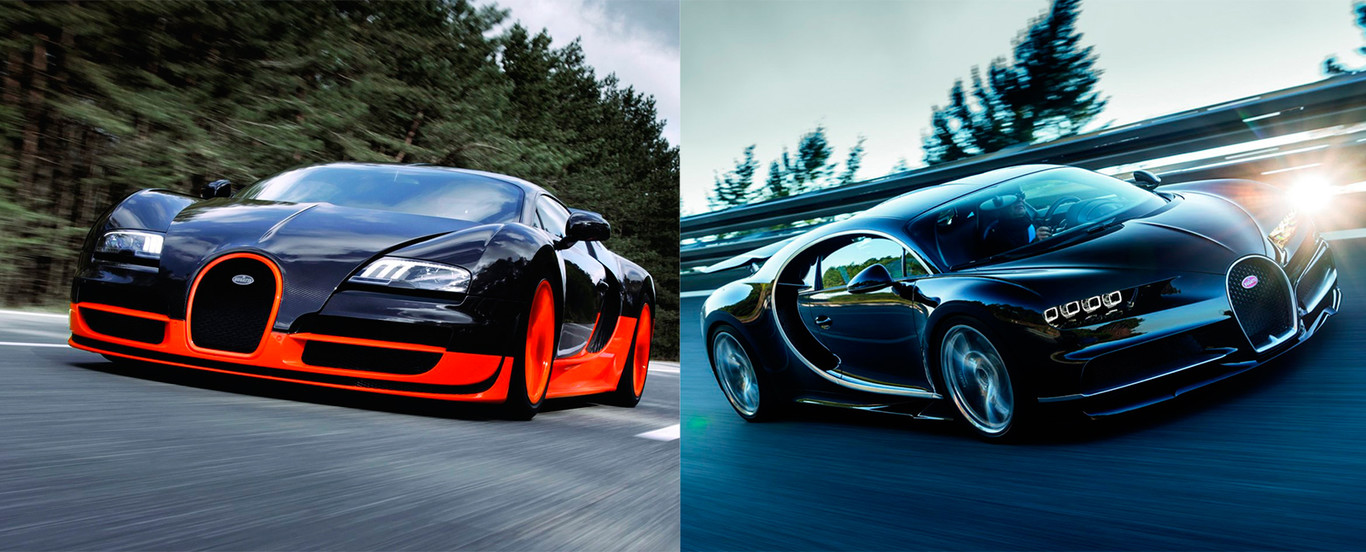 Vídeo: Bugatti Chiron vs Bugatti Veyron Super Sport en el