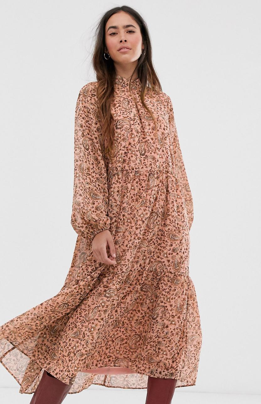 Vestido largo de cuello subido con diseño de cachemir de Vila