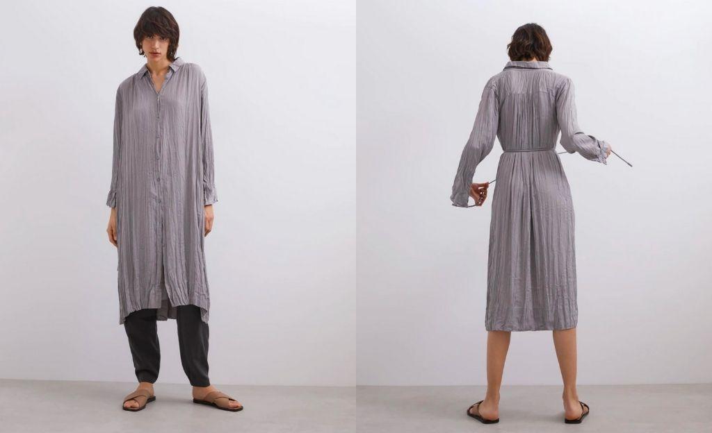 Vestido fluido de manga larga