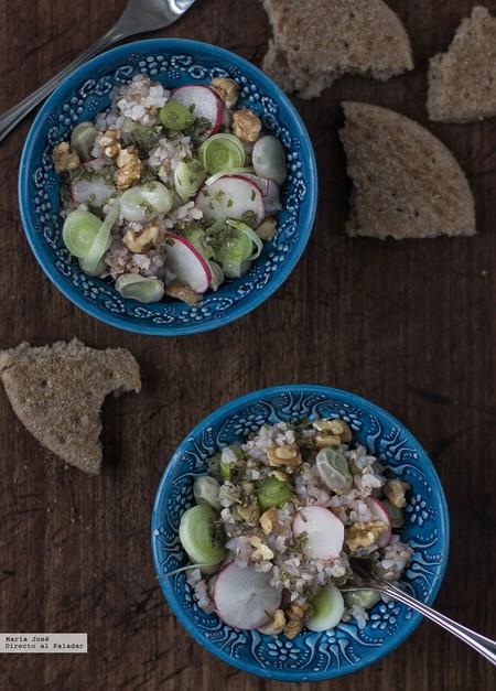Ensalada de trigo sarraceno y habas. Receta de Oriente Próximo
