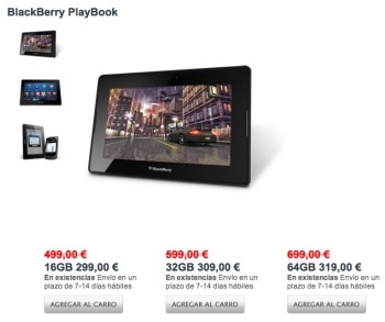 Blackberry Playboook de rebajas en España