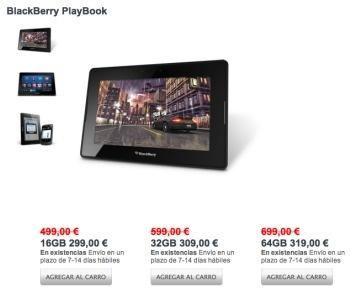 Blackberry Playboook de rebajas en España