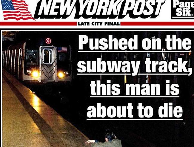Fotografía de un hombre a punto de ser arrollado por el metro en New York Post