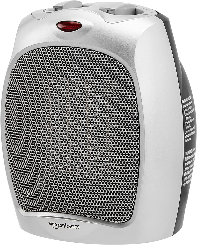 Calentador personal con termostato ajustable, Amazon Basics 1500W, plata