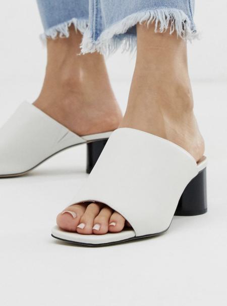 Sandalias De Efecto Cuero Blanco Con Tacon En Contraste Mila De Office
