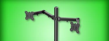 Soporte doble para monitor de oferta en Amazon México: con altura ajustable y aguanta hasta dos pantallas de 27 pulgadas