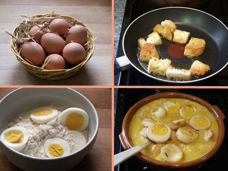 Huevos en salsa de almendras, pasos