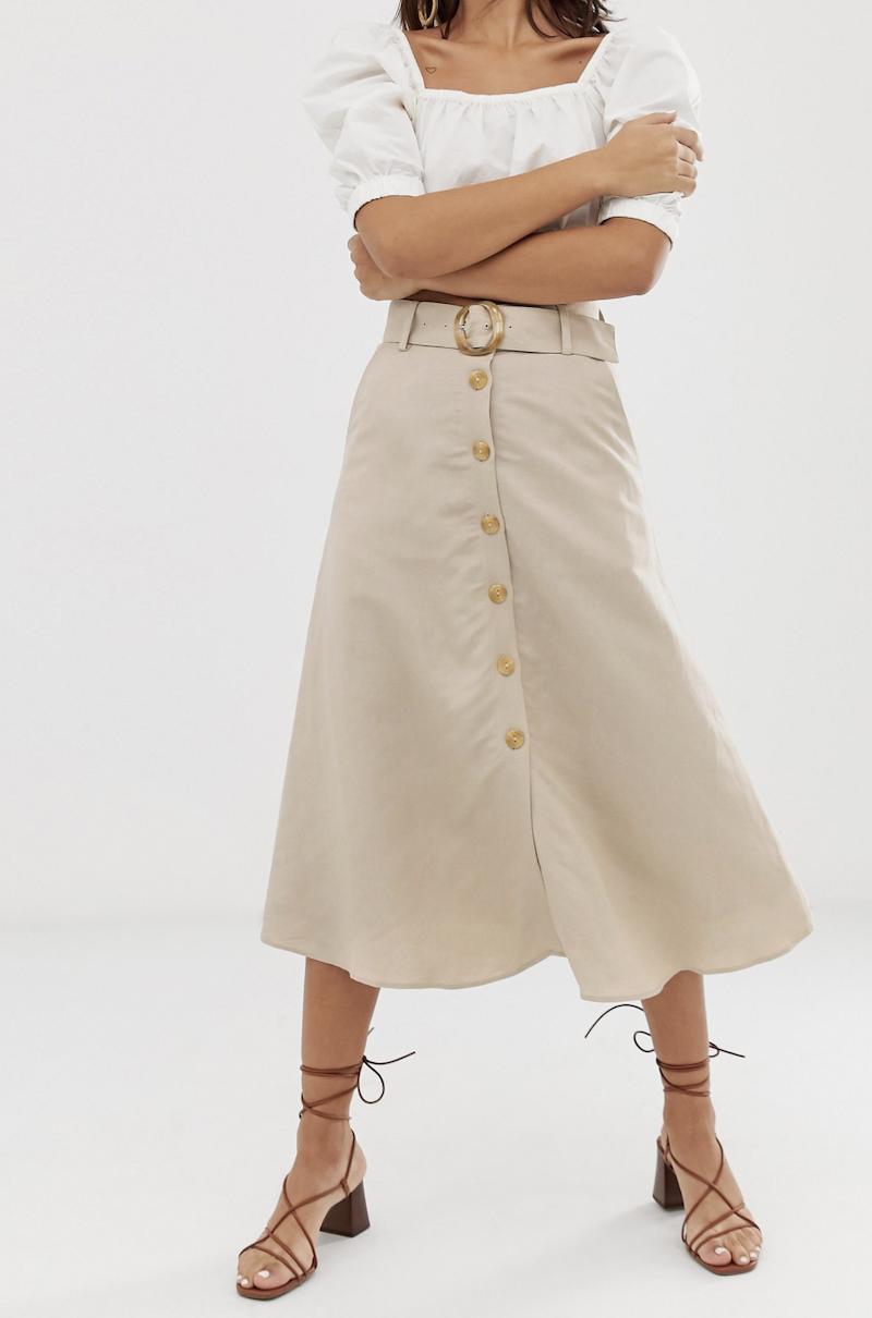 Falda midi de lino beis claro con botones en la parte delantera de & Other Stories