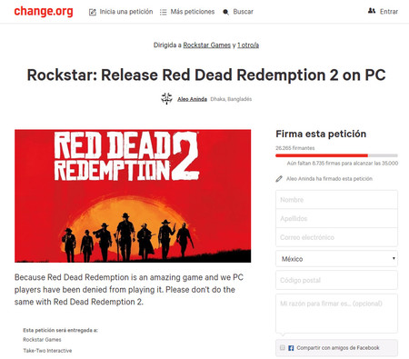 Red Dead Redemption 2 Peticion