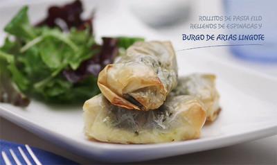 Rollitos de pasta filo rellenos de espinacas y Burgo de Arias Lingote (en vídeo)