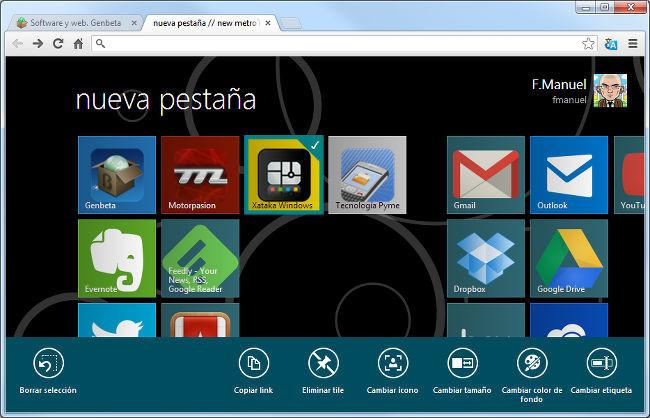 metroTab para Google Chrome