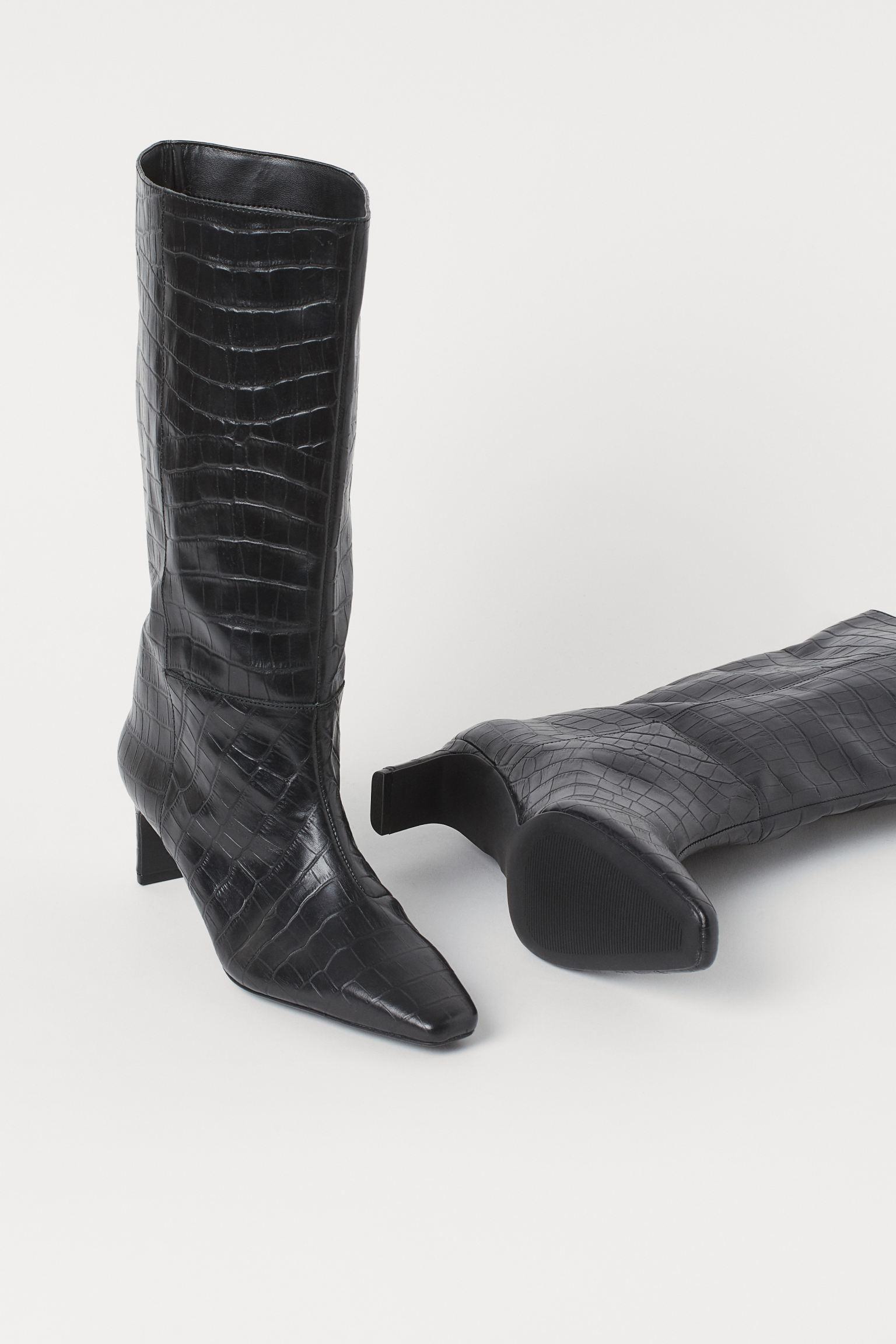 Botas de piel con efecto cocodrilo