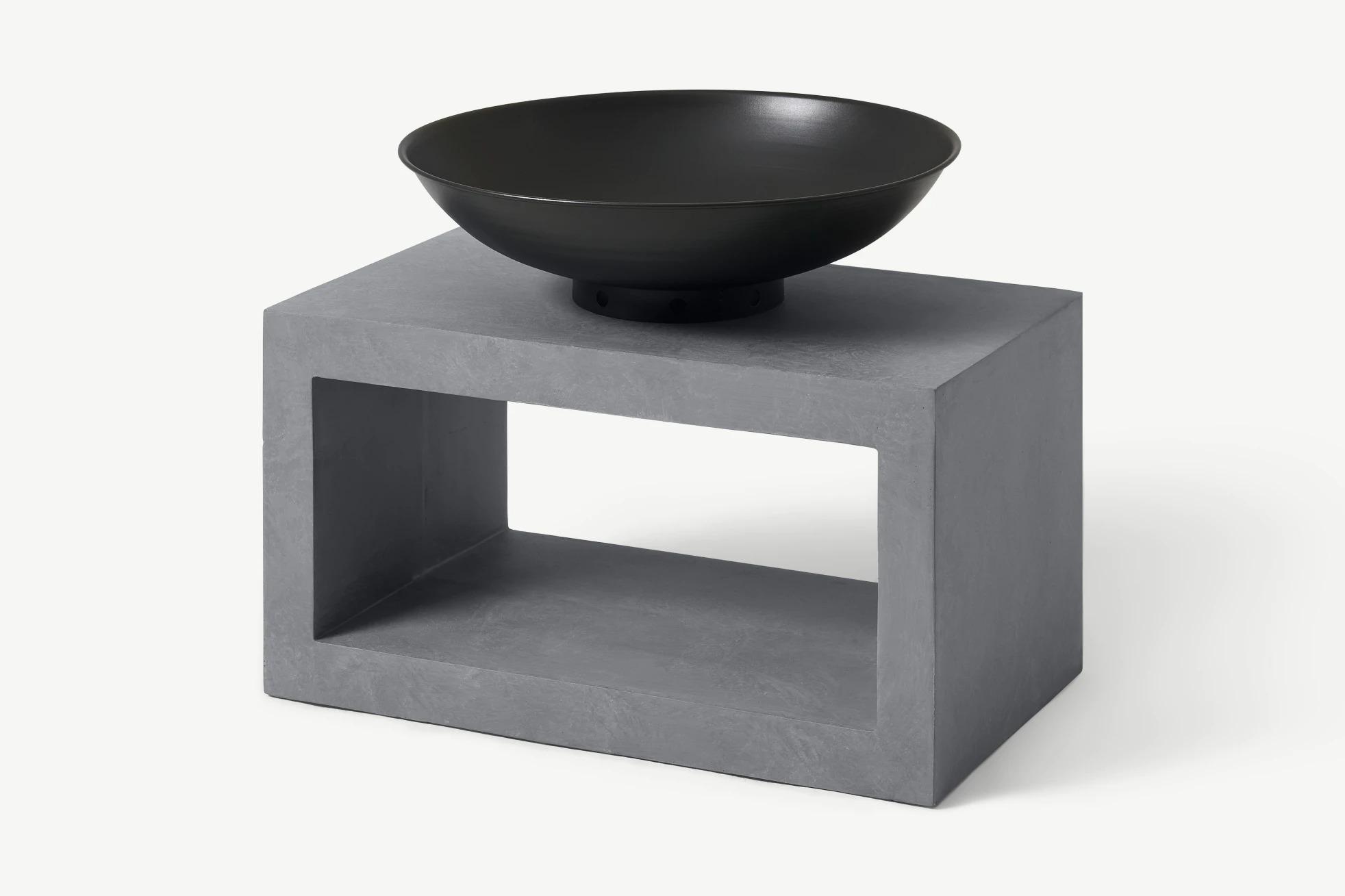 Brasero con base rectangular para exterior, negro y cemento
