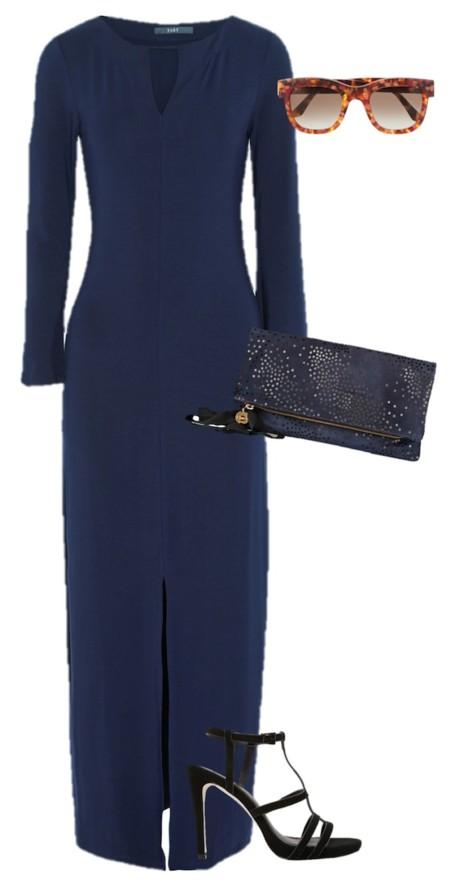 Look Invitada Vestido Azul