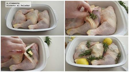 Pollo asado al romero y limón