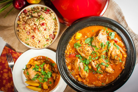 Stonefruit And Chicken Tagine Overhead