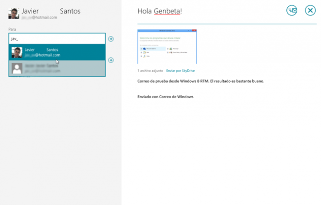 Windows 8 RTM Correo