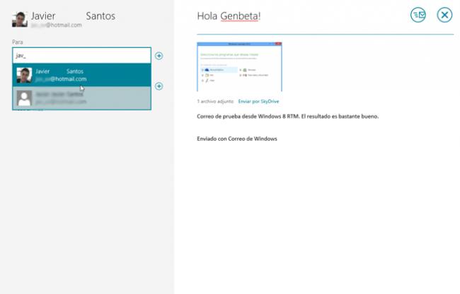 Windows 8 RTM Correo
