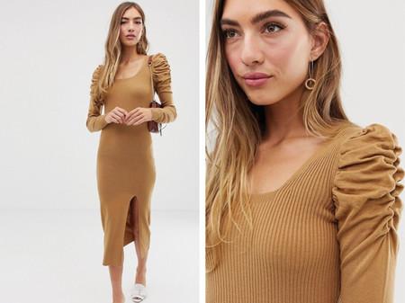 Vestido Semilargo De Punto Con Escote Cuadrado Y Mangas Voluminosas De Asos Design