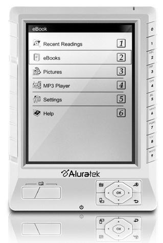 Aluratek Libre, lector de libros electrónicos con pantalla LCD