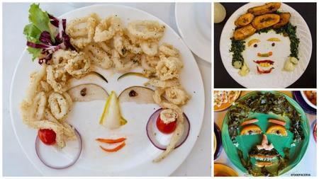 Los increíbles rostros realizados con alimentos