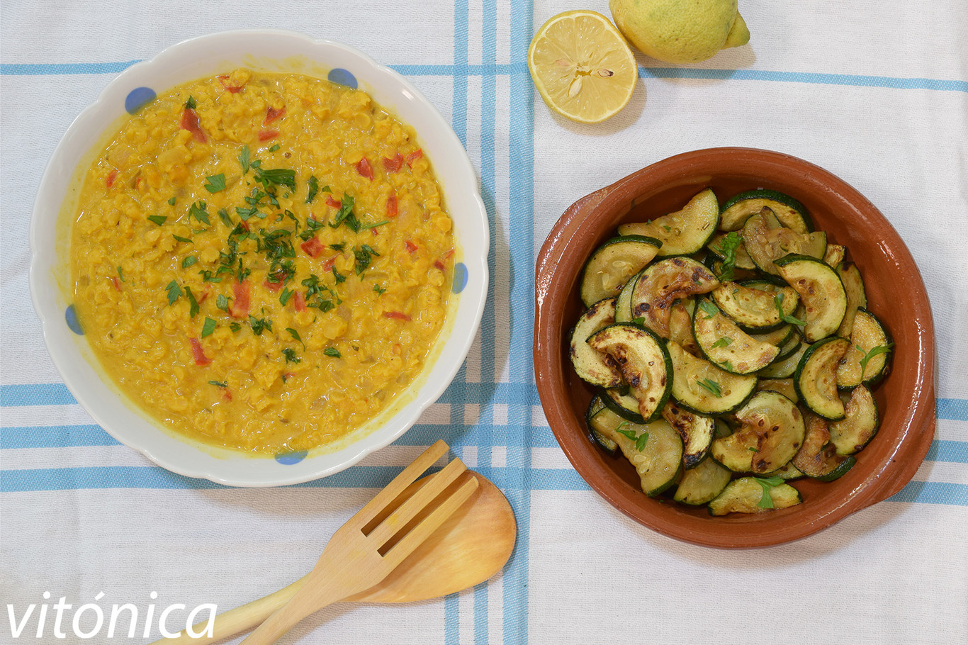 Curry fácil de lentejas rojas con calabacín a la plancha: receta saludable