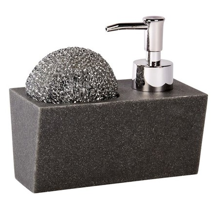 Poly Dispensador De Jabon Con Esponja Negro A 13 X An 15 X P 7 5 Cm