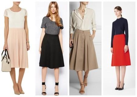 faldas midi lisas shopping moda