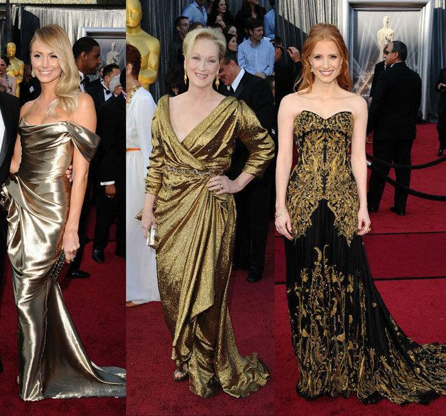 Vestidos dorados Oscar 2012