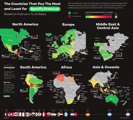 Mapa con la relación calidad de vida-precio de Spotfy en cada país.