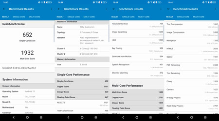 TCL 20 Pro 5G, benchmarks