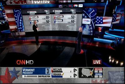Presentadores holograma en las elecciones de EEUU