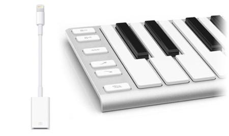 iOS 7 nos permite conectar un teclado MIDI al iPhone usando el adaptador USB de Camera Connection Kit