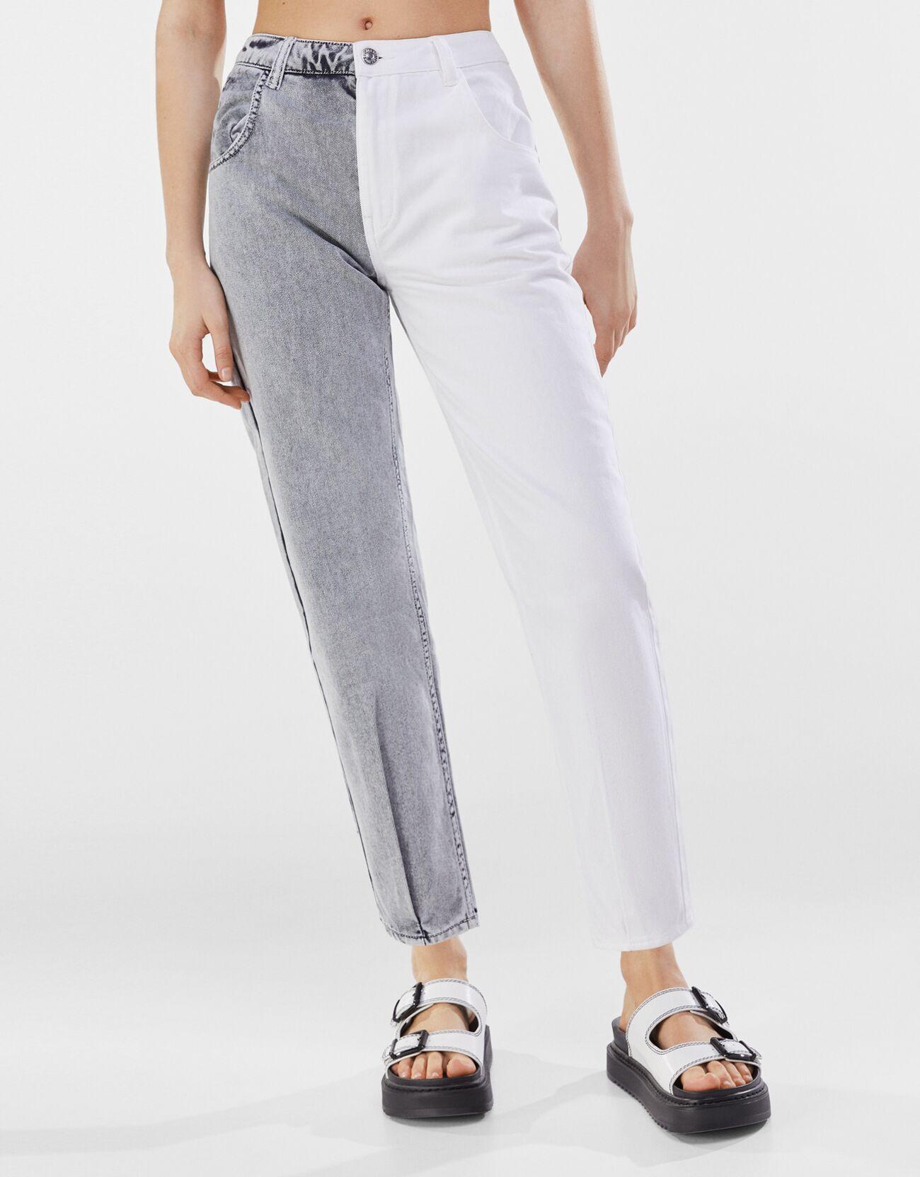 Pantalón sarga mom contraste