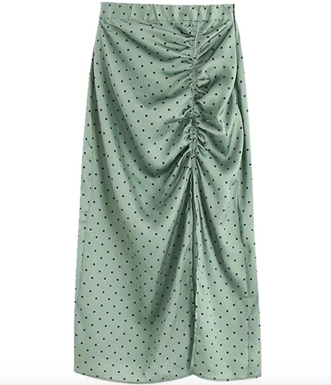 N\P Falda midi plisada de lunares para mujer con cintura elástica con cremallera lateral y abertura para mujer