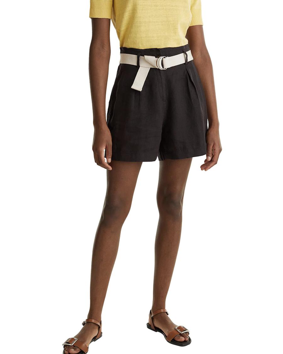 Short de mujer de lino con cinturón