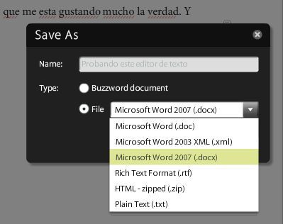 Usa Buzzword para crear o convertir documentos de Office 2007