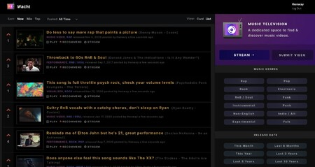Wacht Tv Reddit Meets Mtv Discover Music Videos Product Hunt