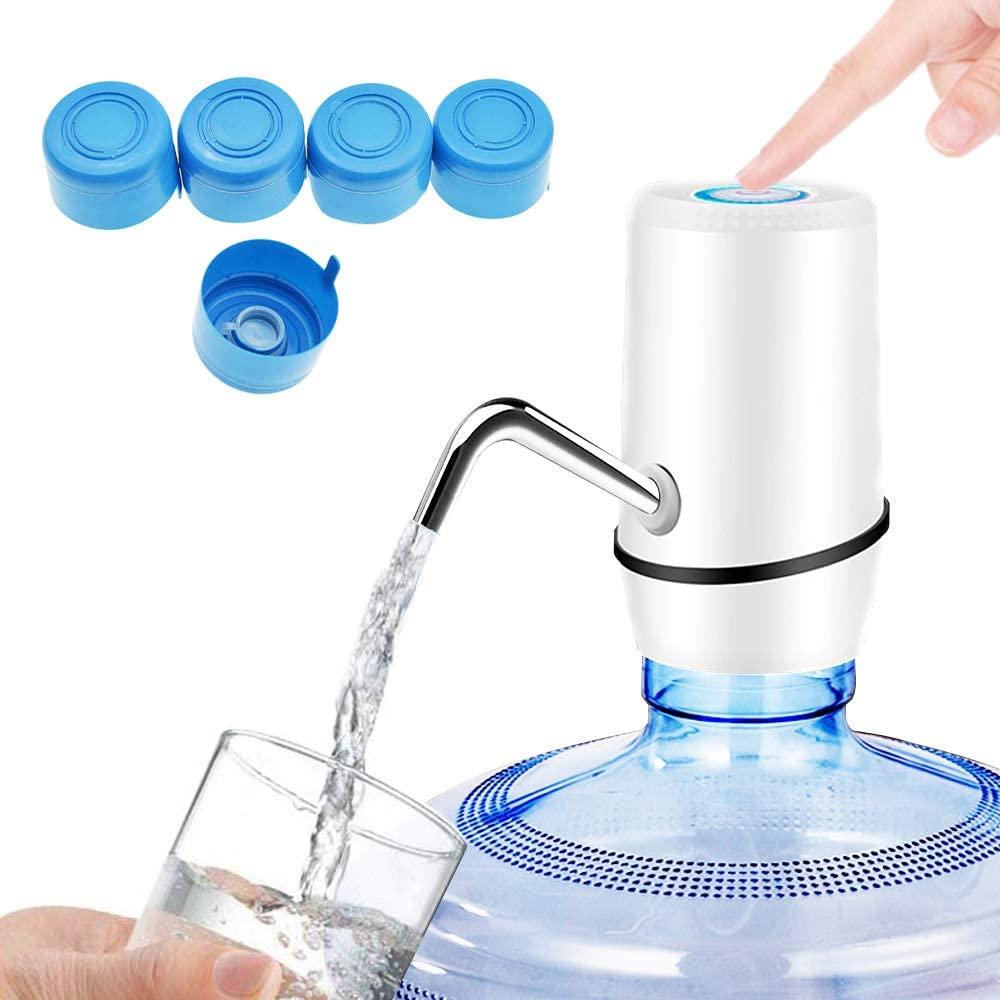 ALEENFOON Dispensador de agua de botella con carga USB portátil, inalámbrico, automático, dispensador de agua embotellada con 5 tapas para botella universal