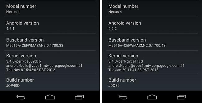 Nexus 4 antes y después de la actualización