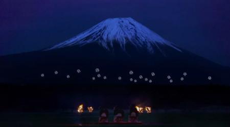 Espectacular coreografía con veinte drones volando frente al Monte Fuji, el shamisen pone el ritmo