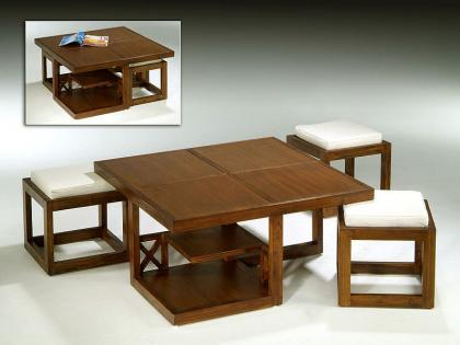 mesa teca con taburetes