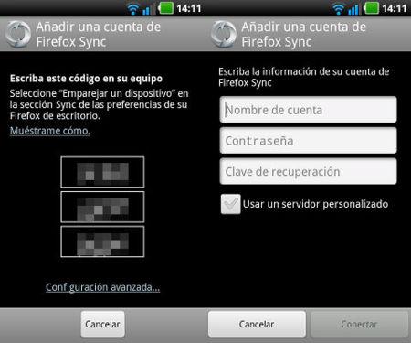 Configuración de Sync en Firefox 14