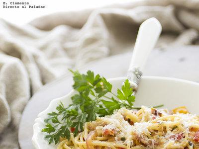 Espaguetis con salsa peperonata. Receta