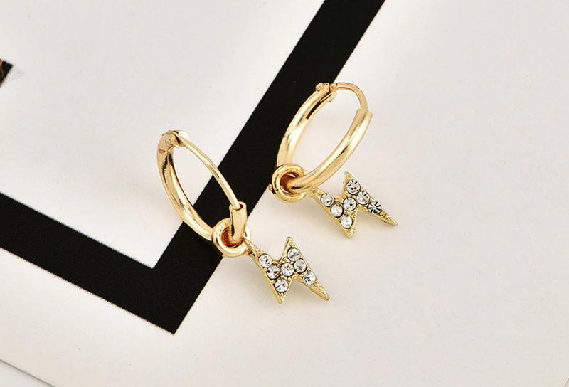 VIVILADY estilo Punk mujer Lightning pendientes gota encantador Color dorado imitación cristal joyería Brincos para novia