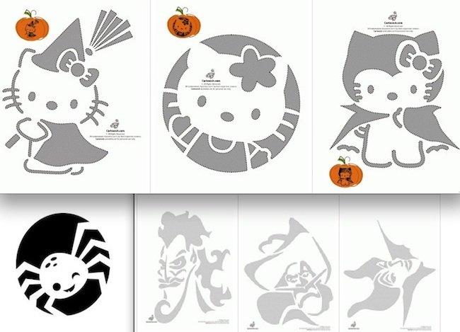 Decoraci n para calabazas de halloween - Plantillas para decorar calabazas halloween ...