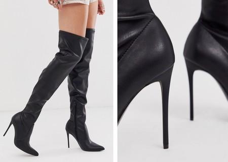 Botas de tacón elásticas por encima de la rodilla de poliuretano en negro de Truffle Collection