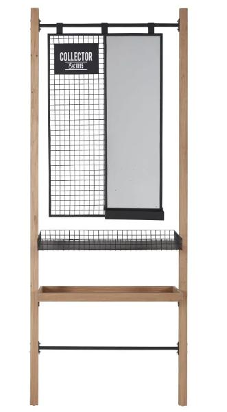 Mueble de entrada con espejo de abeto y metal